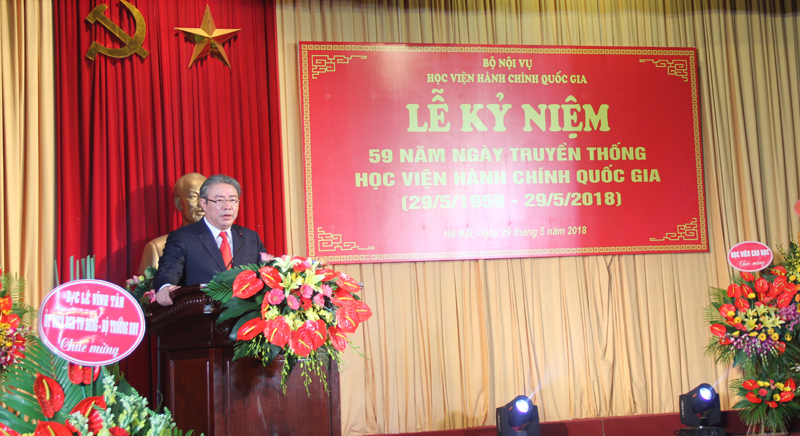 Dr. Dang Xuan Hoan, NAPA President delivers a speech in the ceremony