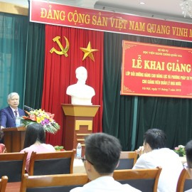 Dr. Vu Thanh Xuan, NAPA Vice President giving a speech in the ceremony