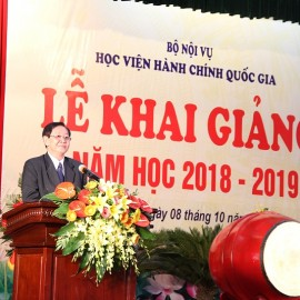 Dr. Le Vinh Tan, Minister of Home Affairs delivers a speech in the ceremony