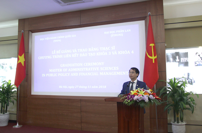 Assoc. Prof. Dr. Luong Thanh Cuong, NAPA Vice President delivering a speech at the ceremony