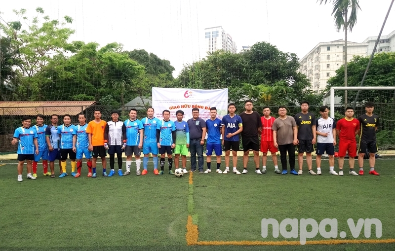Players from the two teams and guests before the match
