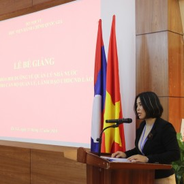 Ms. Nguyen Thi Thu Cuc, Head of Division of Project and International Joint Training, Department of International Cooperation delivered the report on the training course.