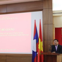 Mr.Khamsing Duangvandy – Political Counselor, Political Counselor,  Lao Embassy to Vietnam delivering a speech