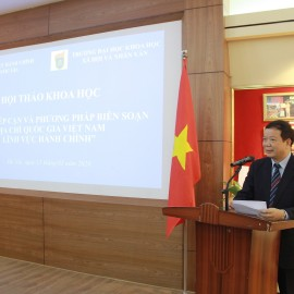 Prof.Dr. Nguyen Van Kim, Vice Rector of the University of Social Sciences and Humanitites delivering a remark.