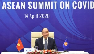 Prime Minister Nguyen Xuan Phuc at the Special ASEAN Summit on Covid-19 (Photo: Trần Hải)