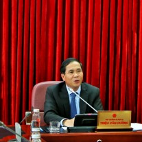 MOHA Vice Minister Trieu Van Cuong speaking at the meeting
