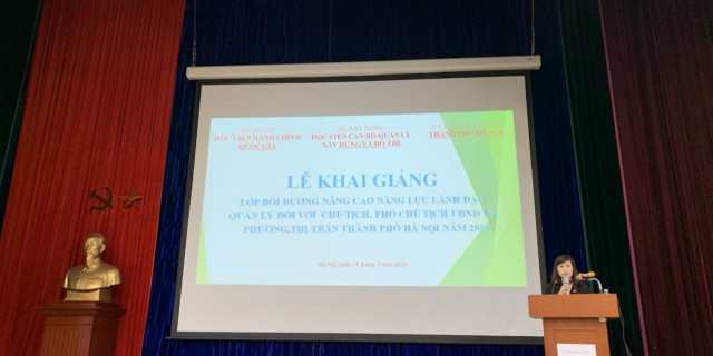 Ms. Le Phuong Thuy, Deputy Director, Department of Refresher Training Management speaking at the ceremony