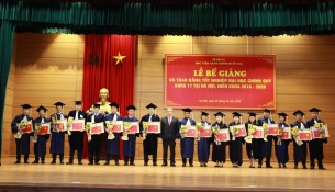 NAPA Presidents presenting the certificates of merit to 17 Lao graduates