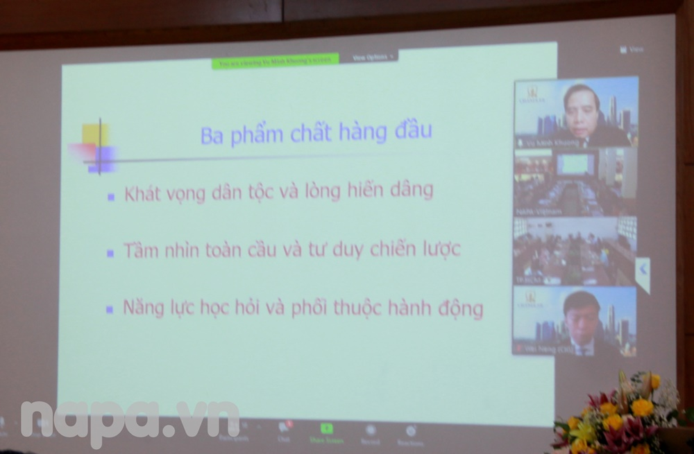 Assoc.Prof.Dr. Vu Minh Khuong from Singapore delivering online presentation for the workshop