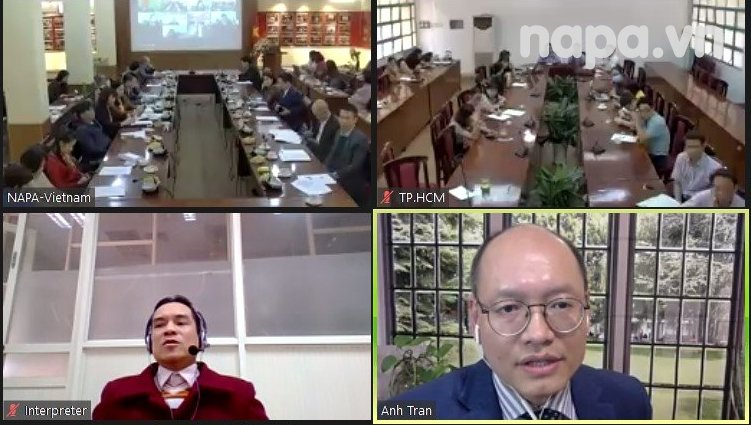 Prof.Dr. Tran Ngoc Anh from the United States delivering online presentation for the workshop