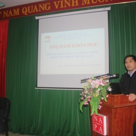 Assoc.Prof.Dr. Nguyen Hoang Hien, Deputy Director General, NAPA Campus in Hue city speaking in the seminar