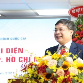 Dr. Nguyen Quang Vinh, Editor-in-Chief, State Management Review, introducing the Representative Office of State Management Review in Ho Chi Minh City