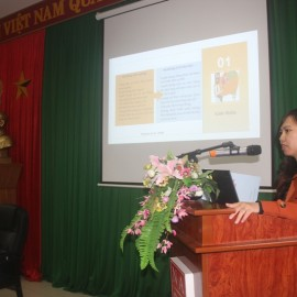 "Dr. Le Thi Thu Huyen, Lecturer, Division of Law, Administration and Organization in her presentation ""Required competency for lecturers of the job position-based training"""