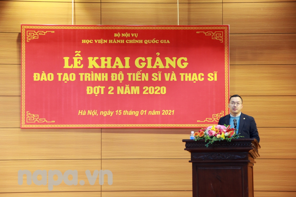 Mr. Hoang Minh Tien, a new doctoral student speaking at the opening ceremony