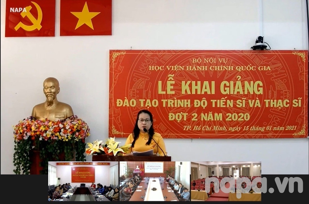 Ms. Vo Phuong Lien, a new graduate student speaking at the Opening Ceremony