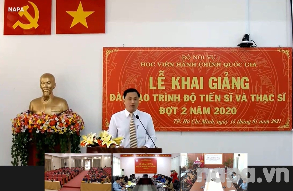 Mr. Nguyen Van Thanh, Head, Division of Administration and Organization Affair, NAPA Branch Campus in Ho Chi Minh City, introducing the ceremony