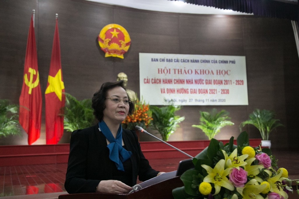 Ms. Pham Thi Thanh Tra, Vice Minister of Home Affairs delivering the workshop opening remarks