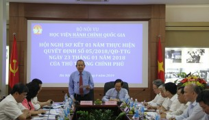 Permanent Deputy Prime Minister Truong Hoa Binh speaking at the meeting on April 25th 2019, reviewing one year of implementation of the Prime Minister  Decision No. 05/2018/QD-TTg dated January 23, 2018.
