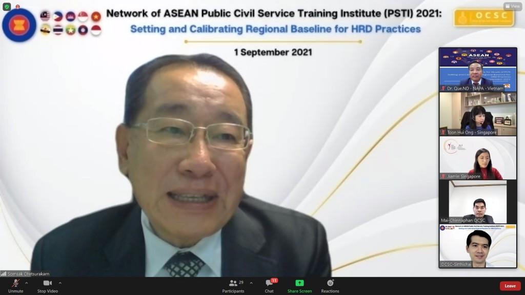 Dr. Somsack Chetsurakarn, Director, Civil Service Training Institute, Thailand making opening speech of the Roundtable for Heads of ASEAN PSTI