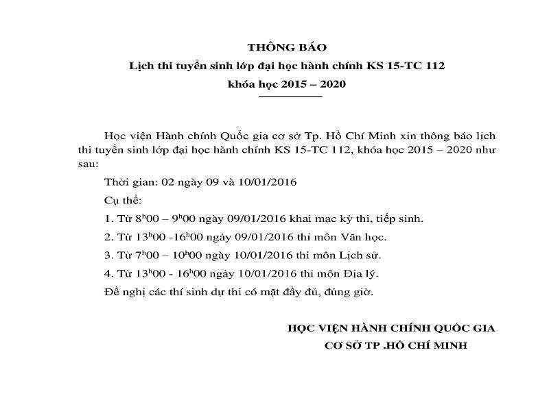 Thông báo lịch thi tuyển sinh lớp VLVH