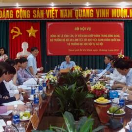 Đồng chí Lê Vĩnh Tân, Ủy viên Ban Chấp hành Trung ương Đảng, Bộ trưởng Bộ Nội vụ làm việc với Học viện Hành chính Quốc gia và Trường Đại học Nội vụ _ 1