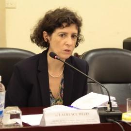 Bà Laurence Mézin, cán bộ chương trình hợp tác về hành chính và phân quyền, Đại sứ quán Cộng hòa Pháp tại Việt Nam phát biểu tại buổi làm việc