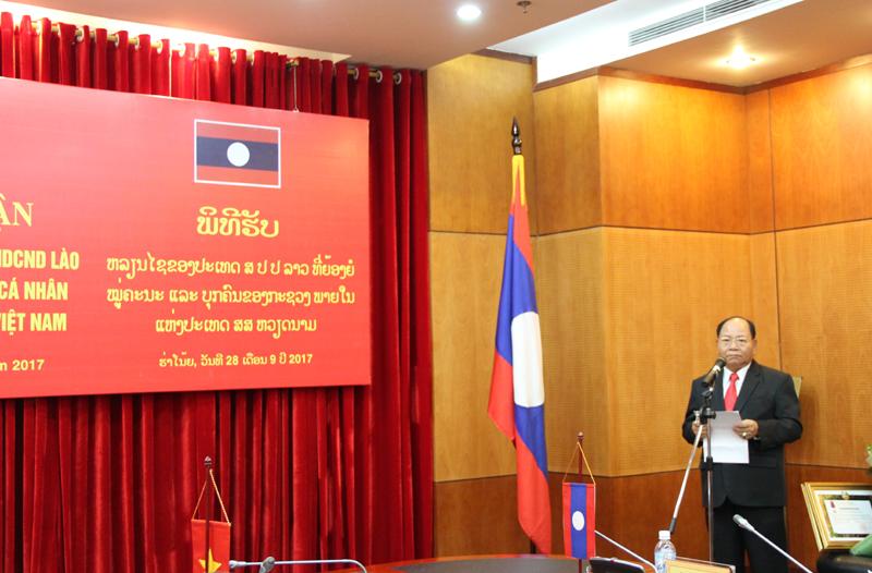 Đồng chí Khamman Sounvileuth, Ủy viên Trung ương Đảng Nhân dân Cách mạng Lào, Bộ trưởng Bộ Nội vụ Lào phát biểu tại buổi Lễ