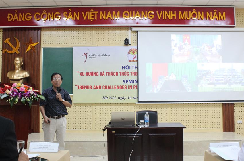 PGS.TS. Nguyễn Hữu Hải, Giảng viên cao cấp, nguyên Trưởng khoa Hành chính học, Học viện Hành chính Quốc gia trình bày tham luận tại Hội thảo