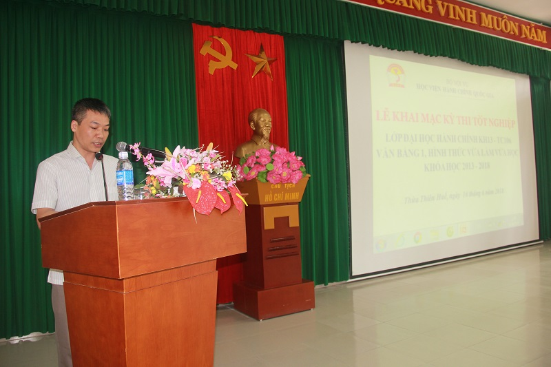 ThS. Nguyễn Nghĩa Hiệp - Phòng Quản lý đào tạo và phát triển nguồn nhân lực công bố quyết định liên quan đến kỳ thi