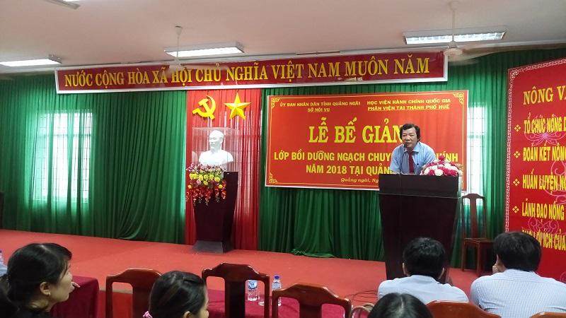 Đồng chí Đoàn Dụng, Giám đốc Sở Nội vụ tỉnh Quảng Ngãi phát biểu