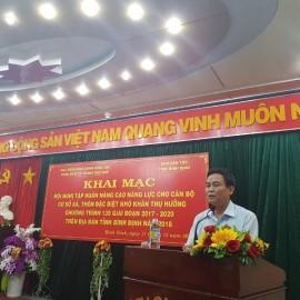 Đồng chí Nguyễn Phạm Phụng, Phó trưởng Ban Dân tộc tỉnh Bình Định phát biểu khai mạc chương trình tập huấn