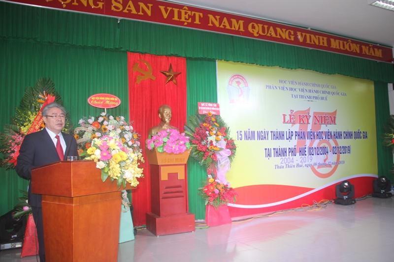 TS. Đặng Xuân Hoan, Bí thư Đảng ủy, Giám đốc Học viện Hành chính Quốc gia phát biểu chỉ đạo tại Lễ kỷ niệm