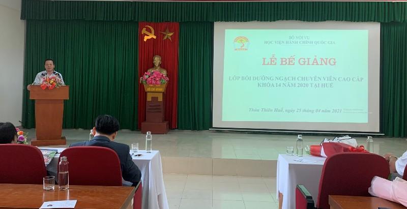 Đồng chí Nguyễn Quang Tuấn - Đại diện học viên phát biểu tri ân Lãnh đạo, giảng viên, cán bộ, nhân viên  và người lao động của Học viện