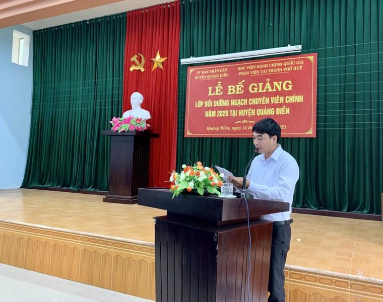 Đồng chí Trần Hải - Đại diện cho các học viên tri ân tại Lễ Bế giảng