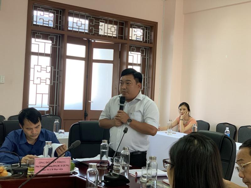 ThS. Lê Văn Lộc – Trưởng phòng Quản trị, Phân viện Học viện tại TP.Huế phát biểu tại buổi làm việc