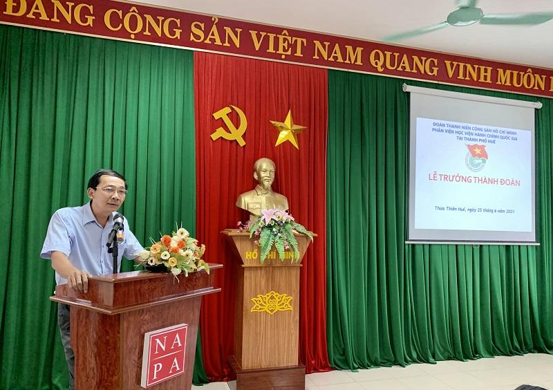 Đ/c Đặng Văn Minh – Chi ủy viên, Chủ tịch Công đoàn Phân viện Học viện tại TP.Huế  Đại điện cho Chi ủy phát biểu tại buổi lễ