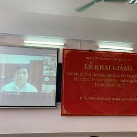 PGS.TS. Nguyễn Hoàng Hiển – Giám đốc Phân viện Học viện tại TP.Huế tham dự Lễ khai giảng trên hệ thống trực tuyến của Học viện