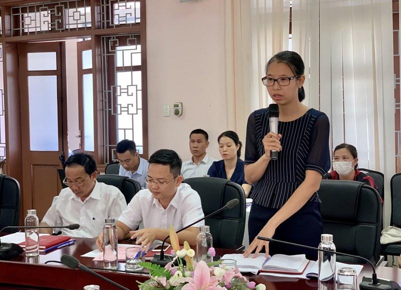 ThS. Mai Thị Phương Dung – Trưởng phòng Quản lý đào tạo, bồi dưỡng phát biểu tại Hội nghị