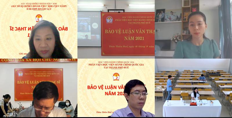 PGS.TS. Nguyễn Thị Thu Vân – Trưởng Khoa Văn bản và Công nghệ hành chính, Học viện Hành chính Quốc gia đánh giá luận văn cho học viên tại điểm cầu trực tuyến
