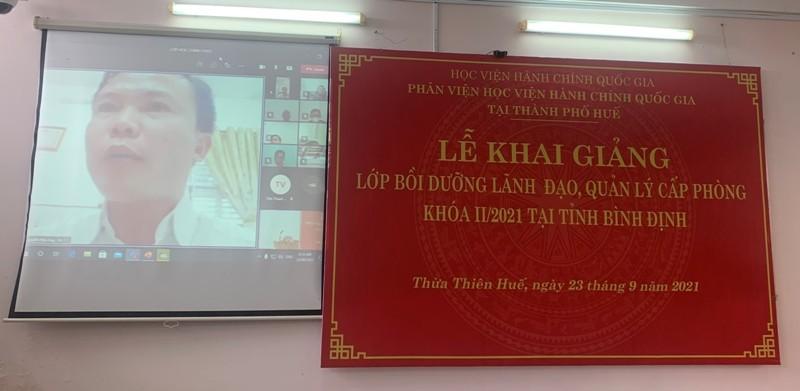 Đồng chí Nguyễn Hữu Huy – Đại diện cho các học viên phát biểu tại Lễ Khai giảng