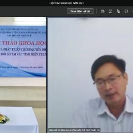 TS. Lê Tiến Dũng – Giám đốc Sở Khoa học Công nghệ tỉnh Ninh Thuận phát biểu tham luận tại điểm cầu trực tuyến