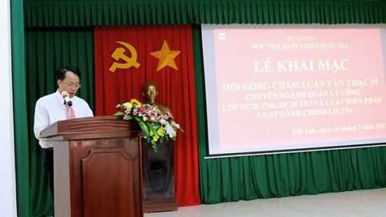 TS. Lê Văn Từ - Trưởng khoa Đào tạo và Bồi dưỡng, Phân viện khu vực Tây Nguyên phát biểu tại buổi lễ