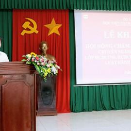 TS. Nguyễn Minh Sản - Phó trưởng Khoa Sau Đại học, Học viện Hành chính Quốc gia phát biểu tại buổi lễ