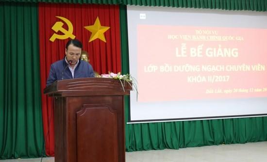 Đại diện học viên phát biểu tại buổi lễ