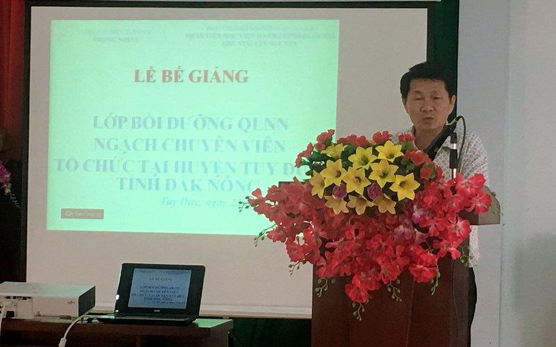 Ông Nguyễn Hữu Huân - Phó Chủ tịch UBND huyện Tuy Đức phát biểu tại buổi lễ