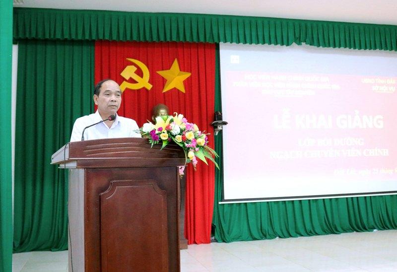 Ông Miên Klơng - Giám đốc Sở Nội vụ tỉnh Đắk Lắk phát biểu tại buổi lễ
