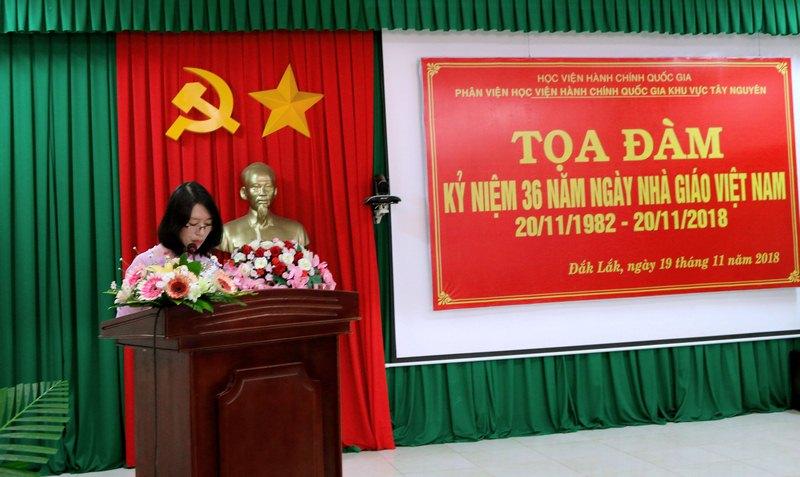 ThS. Nguyễn Thị Ngọc - Giảng viên, Phân viện Học viện Hành chính Quốc gia khu vực Tây Nguyên trình bày tham luận