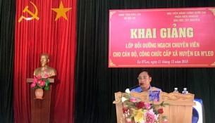 Ông Y Thắng Êban – Huyện ủy viên, Phó Chủ tịch UBND huyện EaH'leo phát biểu tại buổi lễ