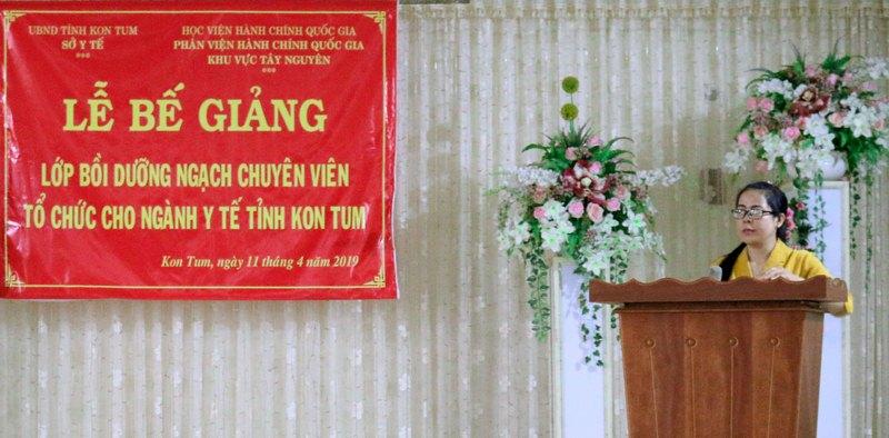 Bà Bế Thị Thùy Dương – Đại diện lãnh đạo Sở Y tế phát biểu tại buổi lễ