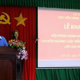 PGS.TS. Nguyễn Quốc Sửu - Trưởng Khoa Nhà nước – Pháp luật và Lý luận cơ sở phát biểu tại buổi lễ